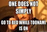 One does not simply go to bed while toonami is on:)