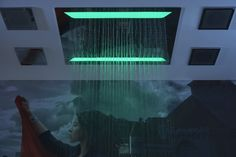 GRAFF Aqua-Sense Celing-Mounted Showerhead with Chromotherapy lighting to enhance your ambiance in the shower