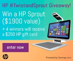 Enter to win a HP Sprout Computer #TwistandSprout. 4 others will win a $250 HP gift card.  Have a HOPtastic day!!