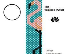 peyote ring pattern,PDF-Download, Ring Flamingo teal #286R, beaded ring pattern, beading tutorials, ring pattern,pdf format,bellepatterns