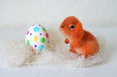 Needle felted little orange rabbit. Easter bunny. Cute animal. Funny toy.