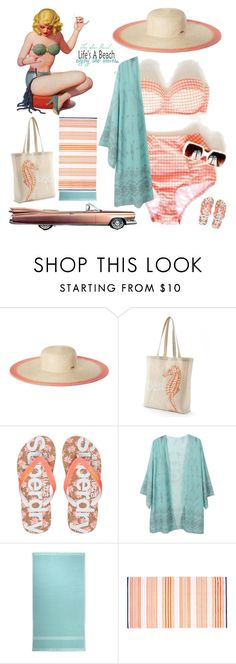 """""""Vintage Bikini: Checkered Peach"""" by theseapearl ❤ liked on Polyvore featuring Nine West, Tri-coastal Design, Superdry, Ralph Lauren Home, vintage, outfit, bikini, VintageInspired, swimsuit and retro"""