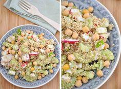 Quinoa Salat mit Radieschen, Gurke und Kichererbsen