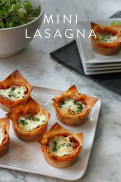 Mini lasagna. The perfect appetizer to keep your family satisfied before you serve up Thanksgiving dinner.