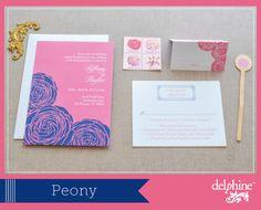 Peony Wedding Invitations in Honeysuckle and Marine via Delphine
