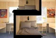 Great idea for shared bedroom, a unique variation on a bunk bed provides each child/person more privacy et creates each their own space. Comfy Bedroom, Shared Bedrooms, Bunk Bed Rooms, Comfy Bed, Bunk Bed Designs, Interior Design Apartment Small, Shared Bedroom, Bedroom Design, Bedroom Divider