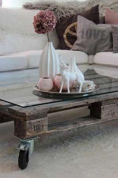 Pallet tafel op wieltjes - Woontrendz