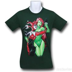 2acbbe21f60 Harley Quinn and Poison Ivy Green T-Shirt Bat Shirt
