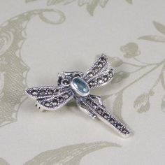 Marcasite & Aquamarine Dragonfly Pendant/Brooch