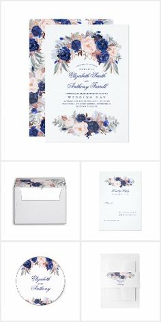Romantic Navy Watercolor Flowers Navy floral watercolor invitation suite #floralwedding  #floralweddinginvitations  #weddinginvitations
