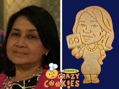 An idea for a 60th birthday...Parker's Crazy Cookies makes cookie twins of the birthday girl. They make creative party favors and are a hit on the dessert buffet!
