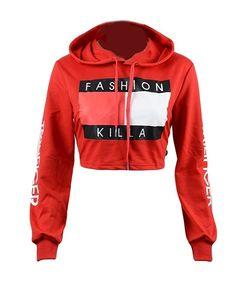 7a4222585c2 Amazon.com  Forlisea Women s Long Sleeve Print Crop Top Hoodies Sweatshirt   Clothing