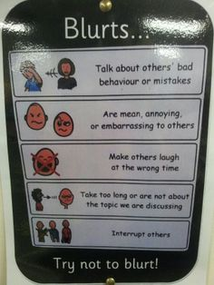 Blurt poster. Could make this with the child's own language so it's more applicable.