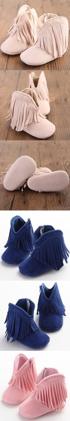 Moccasin Moccs Newborn Baby Girl Boy Kids Prewalker Solid Fringe Shoes Infant Toddler Soft Soled Anti-slip Boots Booties 0-1Year $4.12
