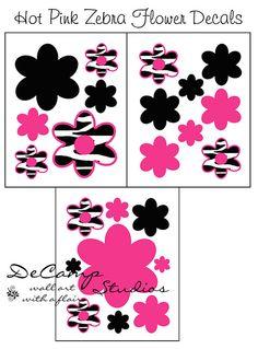 HOT PINK ZEBRA Decals Flower Animal Print Wall Art #decampstudios