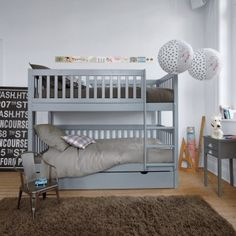 Beautiful grey bunks, I love the light shades too