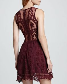 For Love & Lemons | Lulu Sleeveless Lace Dress, Wine - CUSP