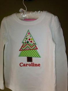 Monogrammed Infant or Toddler Layered Christmas Tree Shirt. $20.00, via Etsy.