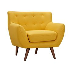 You'll get even more than you bargained for with this Olson Armchair in Yellow. With a classic mid-century design and upward sloping arms, you'll get comfort and style from this piece. With plush cushi...  Find the Olson Armchair in Yellow, as seen in the Mid-Century Modern Ski Trip Collection at http://dotandbo.com/collections/mid-century-modern-ski-trip?utm_source=pinterest&utm_medium=organic&db_sku=109515