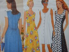 Fitted Dress Sewing Pattern/ Misses/Misses' Petite Size 6-8-10/ Butterick Classics 4932/ A line, sleeveless, princess seams, tie back/ Uncut by RedWickerBasket on Etsy