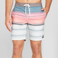 a5cc9b0178b59 Men's Striped 10.5 Blazin Hybrid Swim Shorts - Trinity White 38 ...