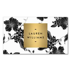 Elegant Black Floral Pattern 4 with Gold Name Logo Business Cards. This great business card design is available for customization. All text style, colors, sizes can be modified to fit your needs. Just click the image to learn more!