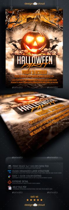 Halloween Party Flyer Template PSD | Buy and Download: http://graphicriver.net/item/halloween-party-flyer-template/8915370?WT.ac=category_thumb&WT.z_author=Design-Cloud&ref=ksioks