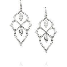 Stephen Webster Belle Epoque 18-karat white gold diamond earrings ($36,000) ❤ liked on Polyvore featuring jewelry, earrings, accessories, brincos, white gold, diamond chandelier earrings, 18k earrings, white gold pendant, diamond pendant earrings and white gold diamond earrings