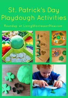 Roundup of Montessori-inspired St. Patrick's Day playdough activities - both green and rainbow activities