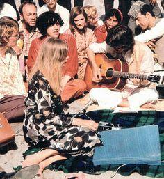 The Beatles in India, 1968. Pattie Boyd, Mia Farrow, Donovan, and George Harrison