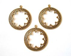 3 Antique Brass Scalloped Hoop Charms by TreeChild1 on Etsy, $5.85