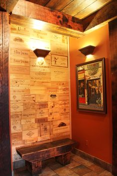 Wine box wall. New paint and decor. Bellisio's.