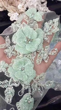 Luxury beaded tulle rhinestone applique, there are 3 layers of beaded flower which are hand sewn to back soft tulle crystal beaded applique with camellia flower Size is about 30 x 13 cmLuxury Rhinestone Applique in Mint Royal Blue Ivory Wine Red Rosy Hand Embroidery Dress, Tambour Embroidery, Bead Embroidery Patterns, Couture Embroidery, Embroidery Fashion, Embroidery Jewelry, Hand Embroidery Designs, Embroidery Applique, Beaded Flowers