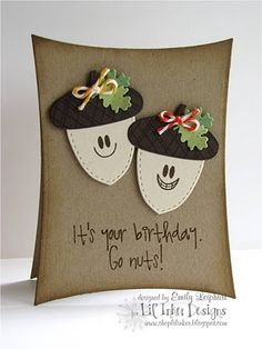 :)    #Spellbinders Dies for card shape  Cute idea for the wonky rectangles. Love the acornes.