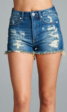 Highwaist destroyed shorts + a crop tee are what you need to last the Summer. #specialajeans #highwaist #denimshorts