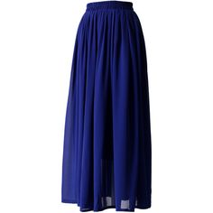 Chicwish Blue Pleated Maxi Skirt ($36) ❤ liked on Polyvore featuring skirts, long pleated chiffon skirt, chiffon maxi skirt, pleated maxi skirt, long blue skirt and pleated skirt
