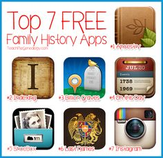 Top 7 Free Family History Apps for iPad or iPhone ~ Discover a new story...Your Story!! Modern Family History Ideas at Teach Me Genealogy www.tmgenealogy.com