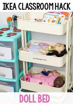 Ikea Raskog Cart Doll Bed for Preschool Pretend Play. A list of inexpensive IKEA hacks for your preschool, pre-k, or kindergarten classroom.