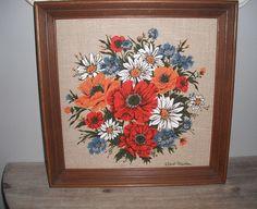 Vintage STUNNING floral on linen screen print Framed and signed Robert Martin .. red orange blue white. $26.00, via Etsy.