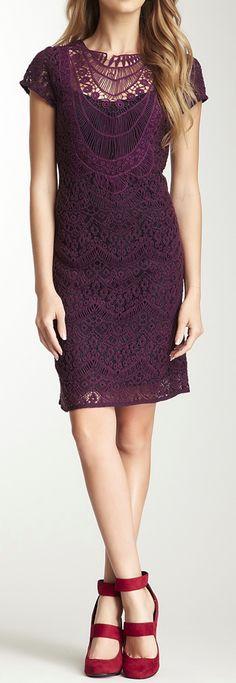 bordeaux lace dress. #FashionInspiration