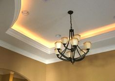 Rope lighting for your crown molding! Idea: put them on dimmers.. my dad has this and it looks really nice!