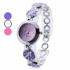 Tanboo Women's Alloy Analog Quartz Bracelet Watch (Assorted Colors) by Tanboo. $8.99. Fashionable Watches. Bracelet Watches. Women's Watche. Gender:Women'sMovement:QuartzDisplay:AnalogStyle:Bracelet WatchesType:Fashionable WatchesBand Material:AlloyBand Color:Purple, White, PinkCase Diameter Approx (cm):2.5Case Thickness Approx (cm):0.6Band Length Approx (cm):17Band Width Approx (cm):1.4