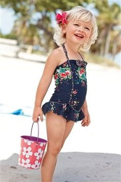Navy Floral Swimsuit (3mths–6yrs) from the Next UK online shop | FollowPics