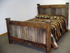 Barn Wood Gray Panel Bed by BarnWoodFurniture72 on Etsy