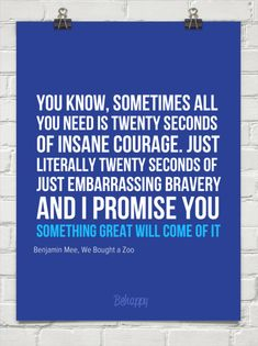 I love this quote. That 20 seconds of insane courage is where I accomplish my dreams.