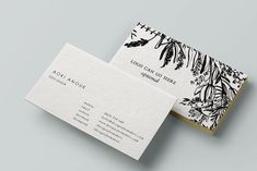 Watercolor Flowers Business Card - Black Ink Calligraphy Design - Premade…