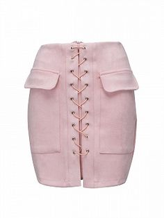 Shop Pink Faux Suede Lace Up Front Pencil Mini Skirt from choies.com .Free shipping Worldwide.$23.9