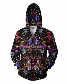 Check out this insane all-over print Interstellar Echolocation Zip-Up Hoodie design by artists Larry Carlson! This vibrant hoodie design will trip you up with vibrant pops of color and abundant psychedelic patterns! Hoodies For Sale, Zip Up Hoodies, Mens Sweatshirts, Psychedelic Pattern, Custom Made Clothing, Winter Hats For Women, Interstellar, Raves, Cool Shirts