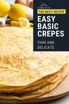 This easy crepe recipe makes the best French crêpes! This basic crepe recipe is the only one you need to make perfect French crepes. Learn tips and tricks. Easy Brunch Recipes, Egg Recipes For Breakfast, Pancake Recipes, Breakfast Ideas, Brunch Ideas, Breakfast Buffet, Waffle Recipes, Breakfast Bowls, Easy Recipes