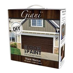 Giani Satin Black Walnut Exterior Paint Kit (Actual Net Contents: oz) at Lowe's. From cold, plain white or simple solid, paint your garage door to look like wood in a single morning or afternoon. In the same manner of the indigenous Brown Garage Door, Garage Door Paint, Garage Door Makeover, Wood Garage Doors, Garage Door Design, Garage Door Colors, Garage Flooring, Exterior Makeover, Plan Garage